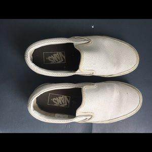 Vans White Leather Slip-on